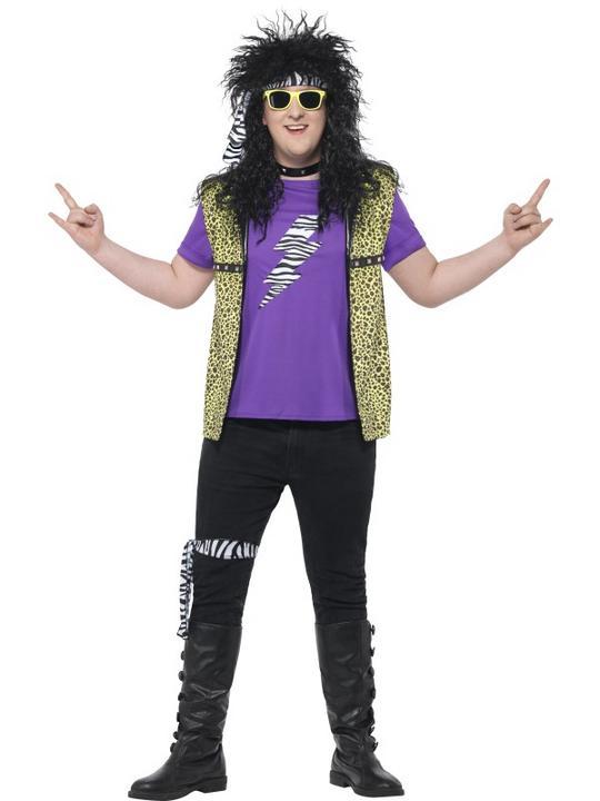Men's Curves 80's Rock Star Costume Fancy Dress Costume Thumbnail 1