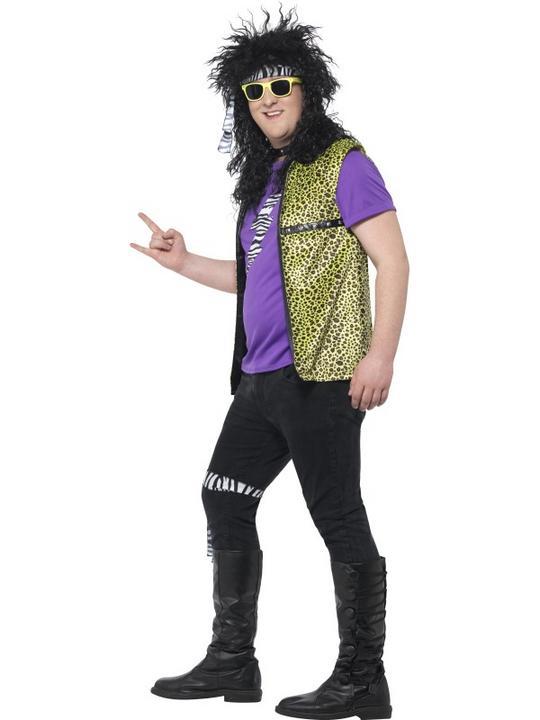 Men's Curves 80's Rock Star Costume Fancy Dress Costume Thumbnail 3