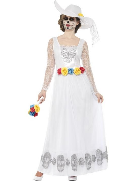 Women's Day of the Dead Skeleton Bride Fancy Dress Costume Thumbnail 1