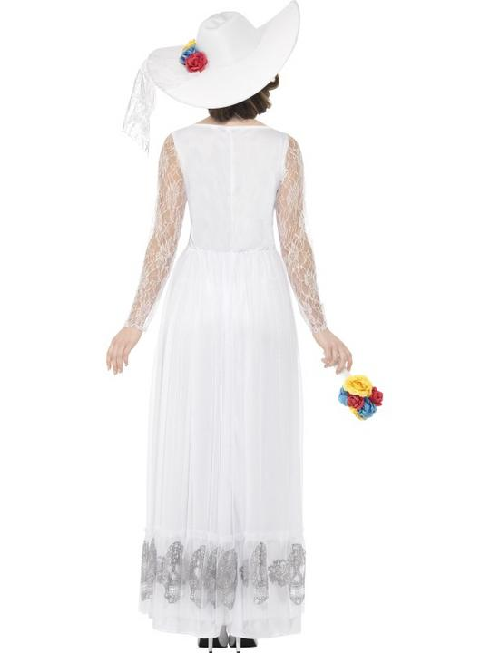 Women's Day of the Dead Skeleton Bride Fancy Dress Costume Thumbnail 2