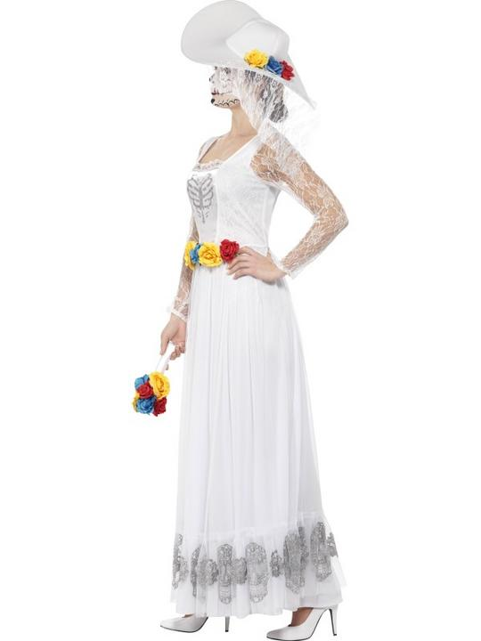 Women's Day of the Dead Skeleton Bride Fancy Dress Costume Thumbnail 3