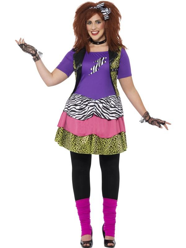 Women's Curves 80's Rock Chick Fancy Dress Costume