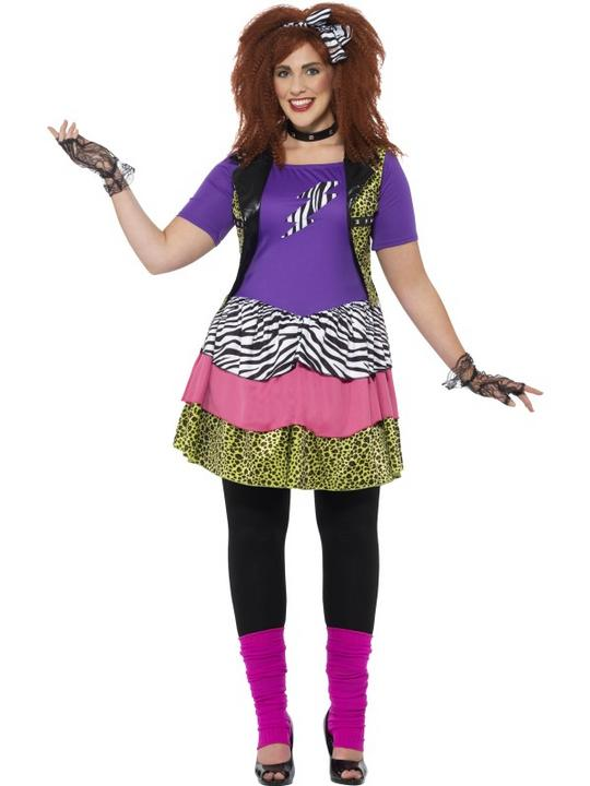 Women's Curves 80's Rock Chick Fancy Dress Costume Thumbnail 1