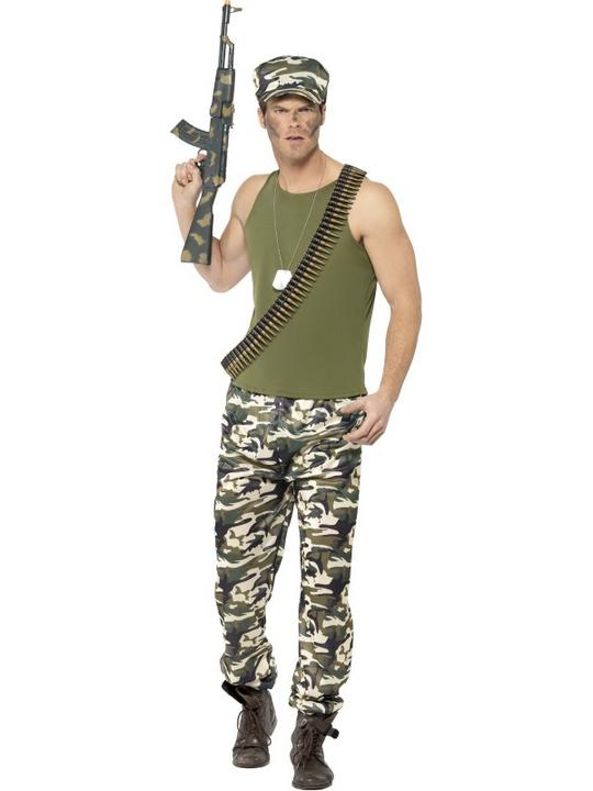 Men's Army Fancy Dress Costume Thumbnail 1