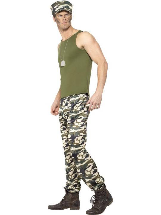 Men's Army Fancy Dress Costume Thumbnail 2