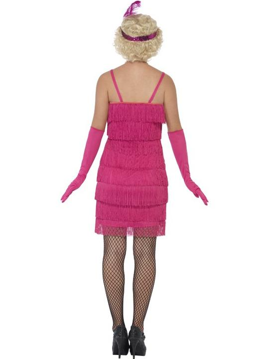 Women's Pink Flapper Fancy Dress Costume Thumbnail 2