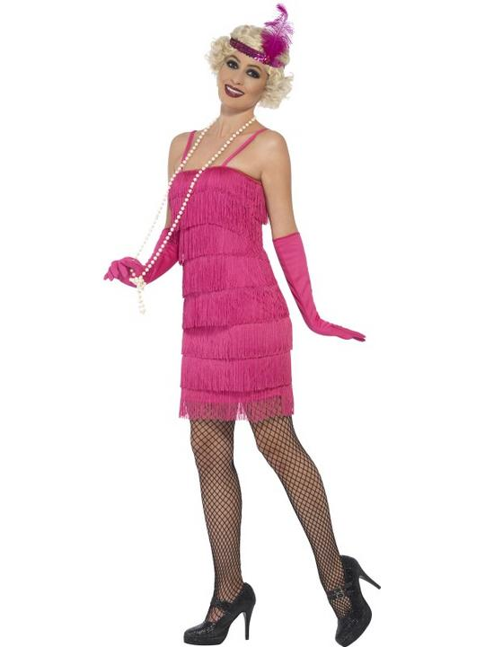 Women's Pink Flapper Fancy Dress Costume Thumbnail 3