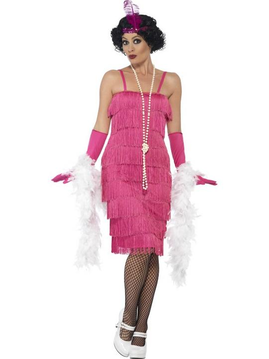 Women's Pink Longer length Flapper Fancy Dress Costume Thumbnail 1