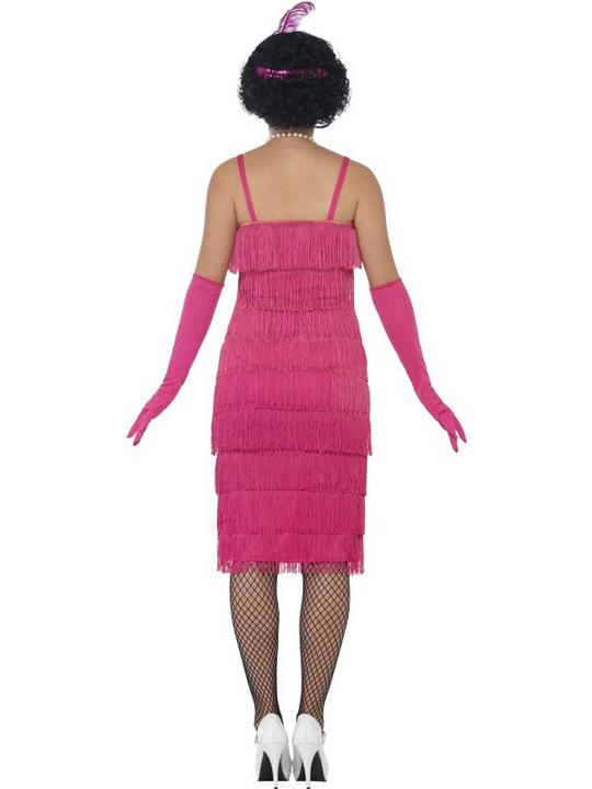 Women's Pink Longer length Flapper Fancy Dress Costume Thumbnail 2
