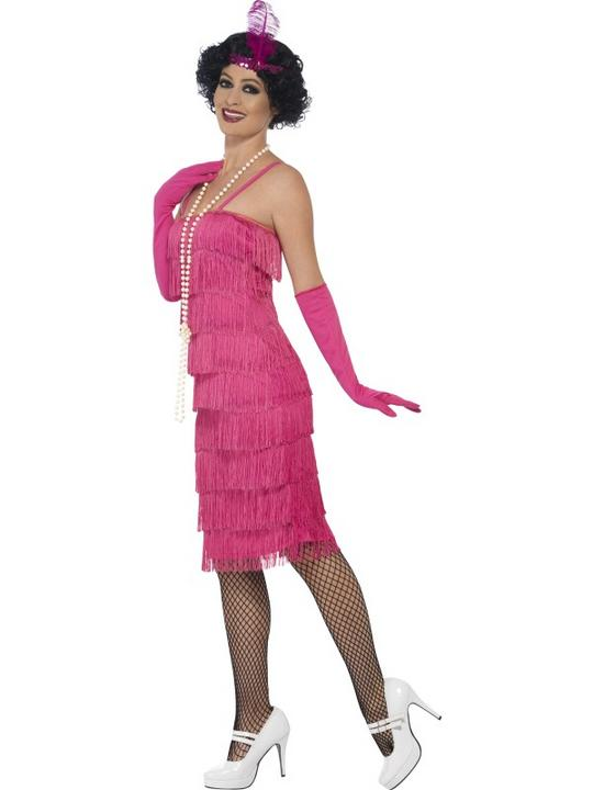 Women's Pink Longer length Flapper Fancy Dress Costume Thumbnail 3
