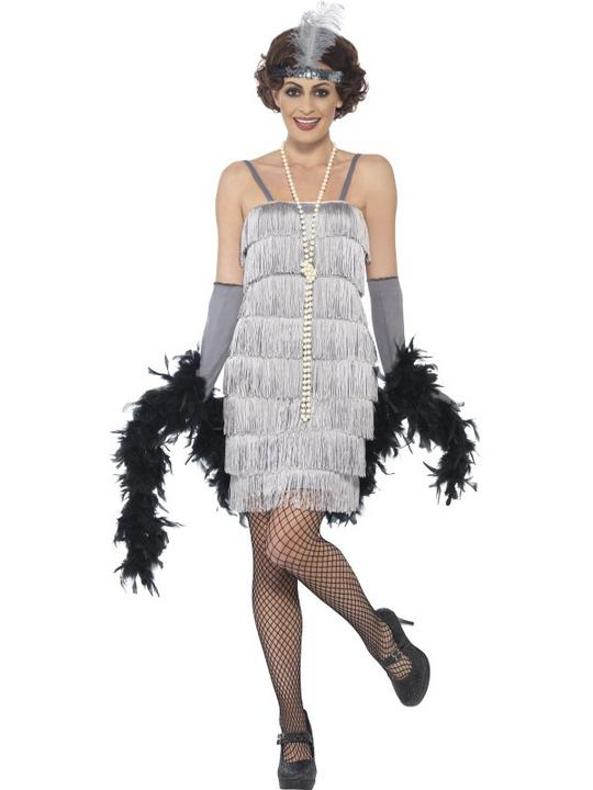 Women's Silver Flapper Fancy Dress Costume Thumbnail 1