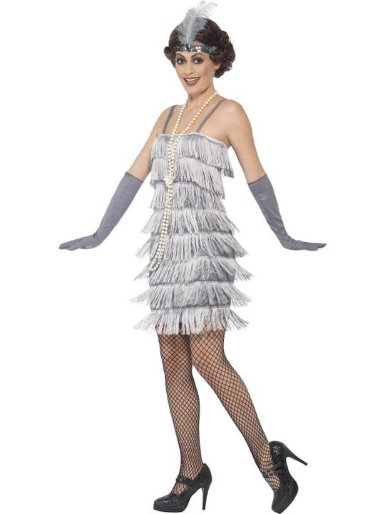 Women's Silver Flapper Fancy Dress Costume Thumbnail 3