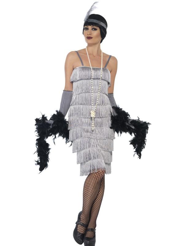 Women's Silver Flapper Longer Length Fancy Dress Costume