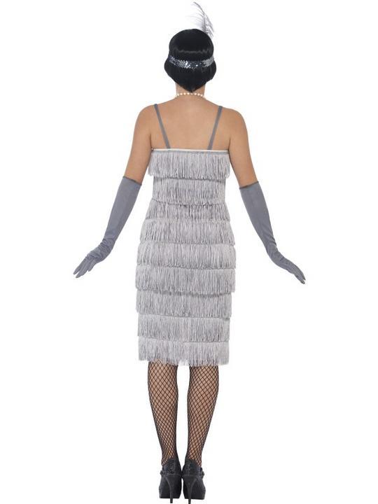 Women's Silver Flapper Longer Length Fancy Dress Costume Thumbnail 2