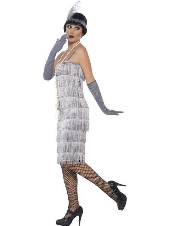 Women's Silver Flapper Longer Length Fancy Dress Costume Thumbnail 3