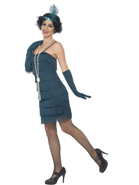 Women's Teal Green Flapper Fancy Dress Costume Thumbnail 3