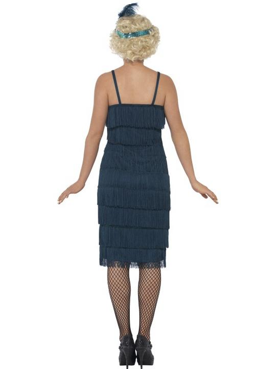 Women's Teal Longer Length Flapper Fancy Dress Costume Thumbnail 2