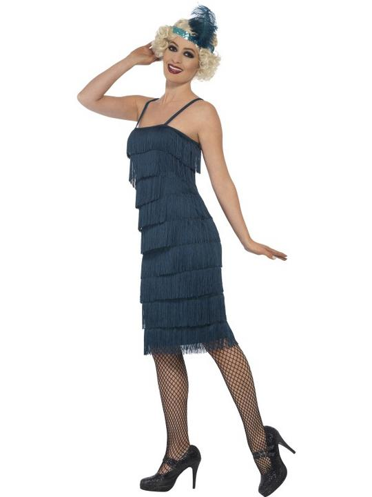 Women's Teal Longer Length Flapper Fancy Dress Costume Thumbnail 3