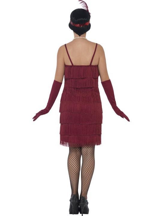 Women's Red Longer Length Flapper Fancy Dress Costume Thumbnail 2