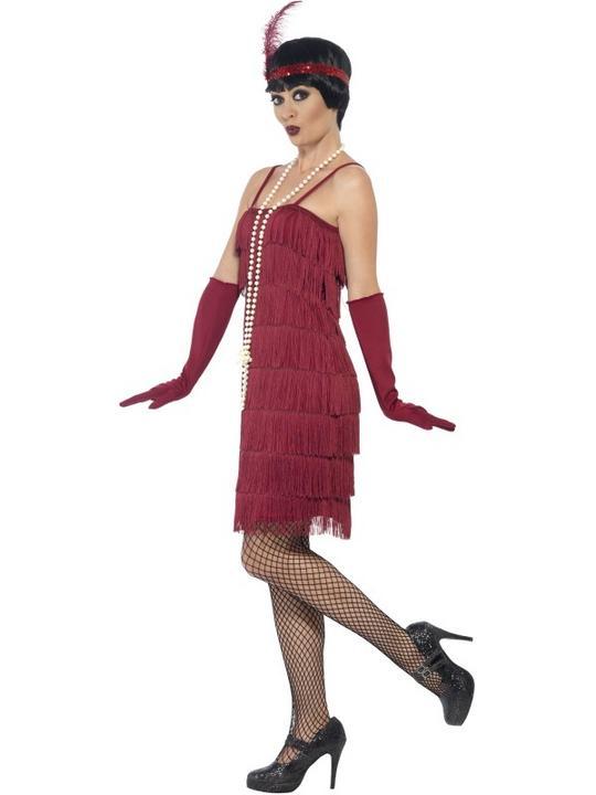 Women's Red Longer Length Flapper Fancy Dress Costume Thumbnail 3