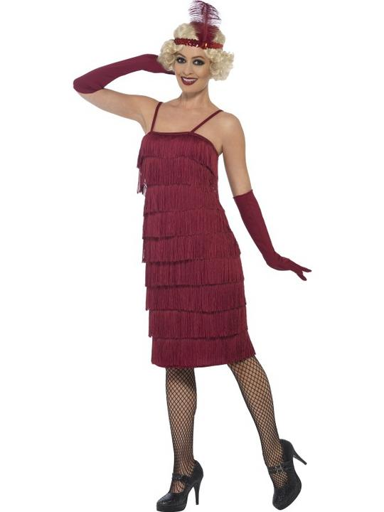 Women's Red Longer Length Flapper Fancy Dress Costume Thumbnail 1