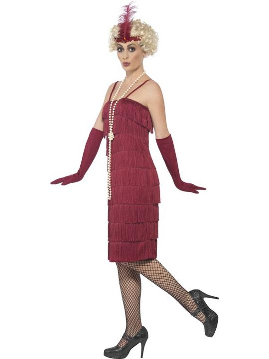 Women's Red Longer Length Flapper Fancy Dress Costume Thumbnail 2