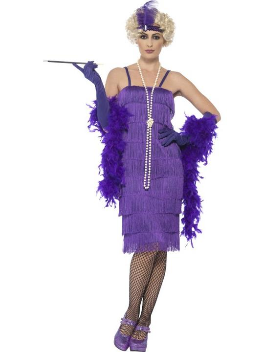 Women's Purple Longer Length Flapper Fancy Dress Costume Thumbnail 1