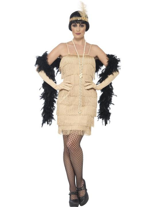 Women's Gold Flapper Fancy Dress Costume Thumbnail 1