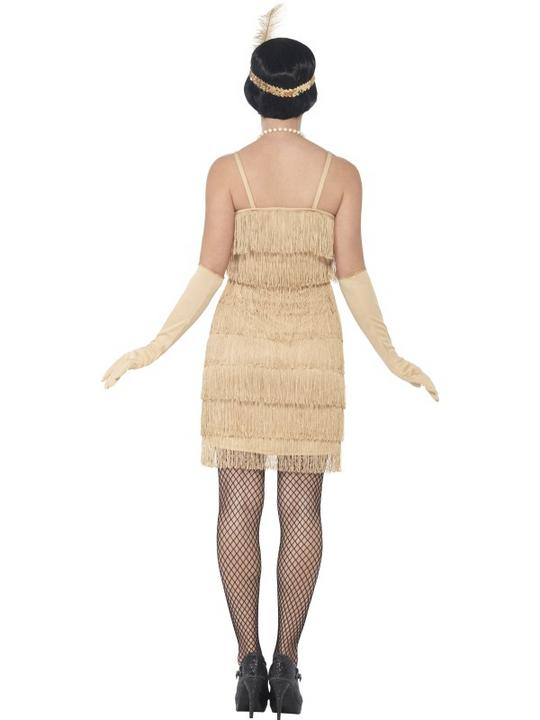 Women's Gold Flapper Fancy Dress Costume Thumbnail 2