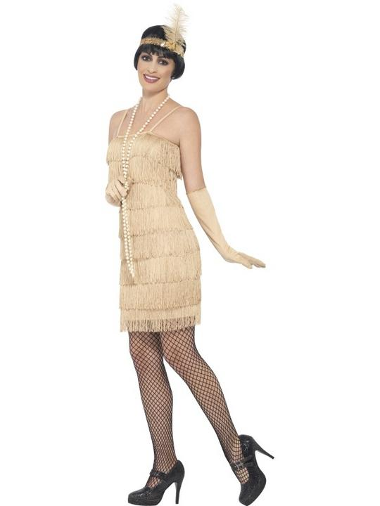 Women's Gold Flapper Fancy Dress Costume Thumbnail 3