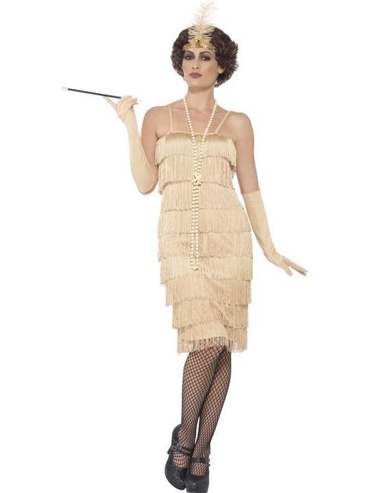 Women's Gold Longer Length Flapper Fancy Dress Costume Thumbnail 1