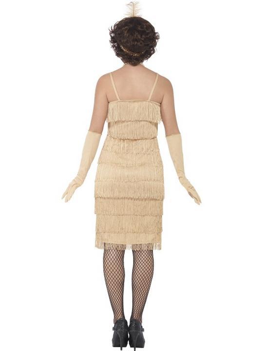 Women's Gold Longer Length Flapper Fancy Dress Costume Thumbnail 2