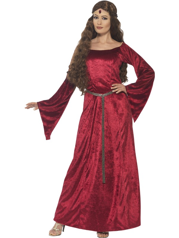 Women's Red Medieval Maid Fancy Dress Costume