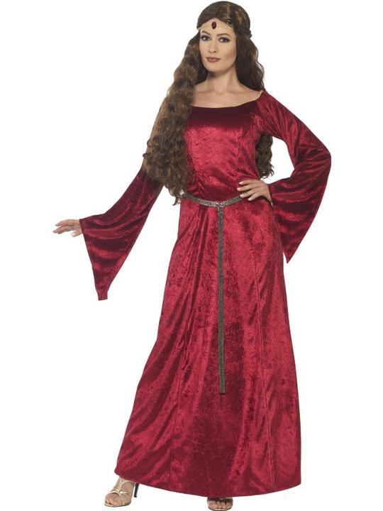 Women's Red Medieval Maid Fancy Dress Costume Thumbnail 1
