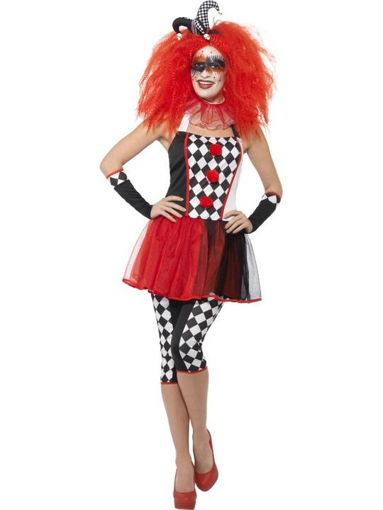 Women's Twisted Harlequin Fancy Dress Costume Thumbnail 1