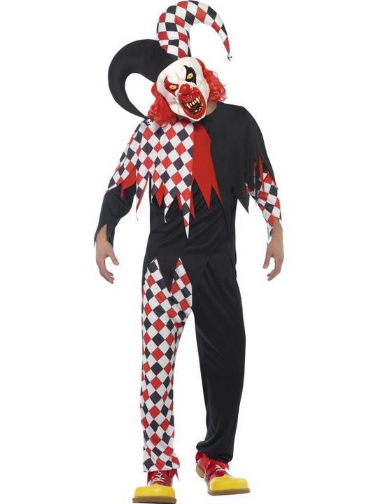 Men's Crazed Jester Fancy Dress Costume Thumbnail 1