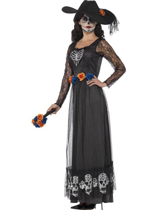 Women's Day of the Dead Skeleton Bride Fancy Dress Costume Thumbnail 3