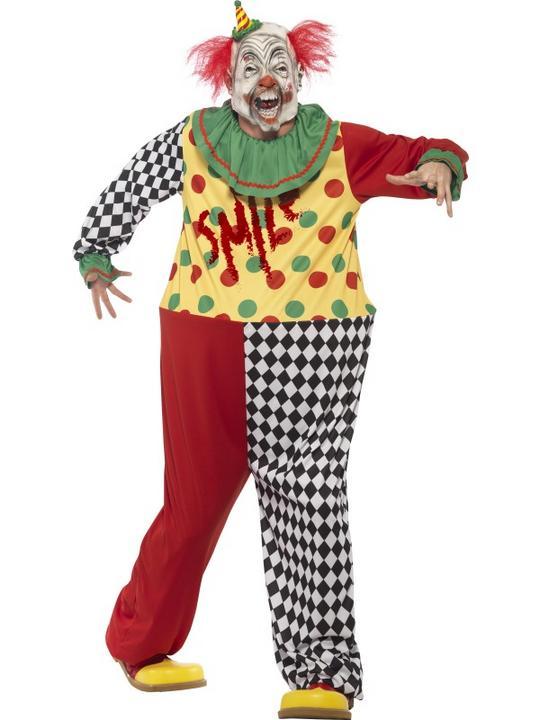 Men's Sinister Clown Fancy Dress Costume Thumbnail 1