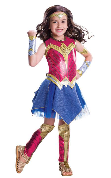 Girl's Deluxe Wonder Woman Fancy Dress Costume Thumbnail 1