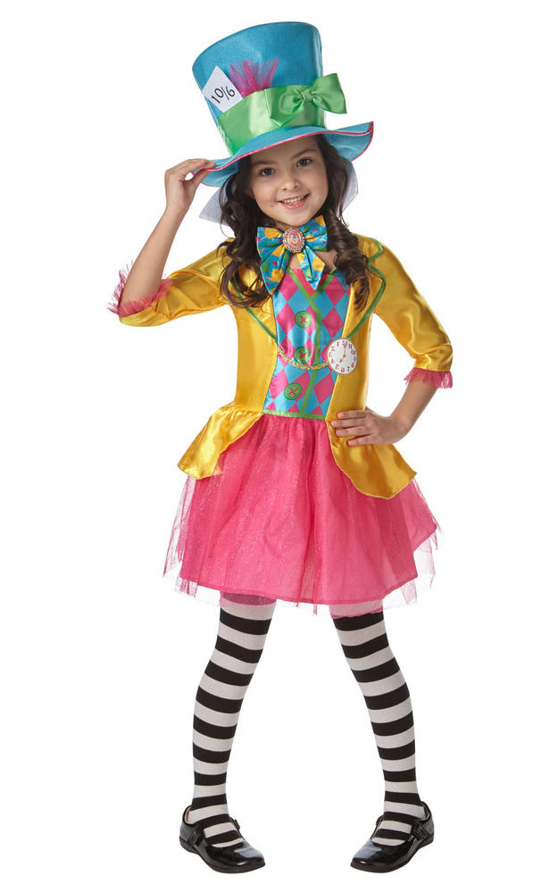 Girls Mad Hatter Alice in Wonderland Book Week Costume Kids Fancy Dress Outfit