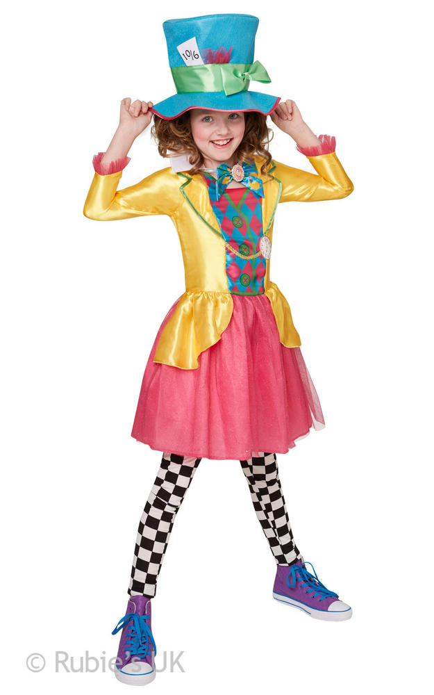 Girl's Mad Hatter Fancy Dress Costume