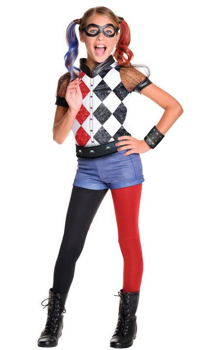 Girl's Deluxe Harley Quinn Fancy Dress Costume Thumbnail 1