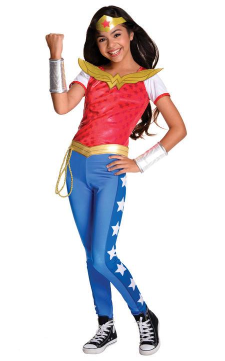 Girl's Deluxe DC Heros Wonder Woman Fancy Dress Costume Thumbnail 1