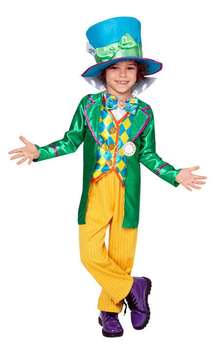 Boys Mad Hatter Alice in Wonderland Book Week Costume Kids Fancy Dress Outfit Thumbnail 1