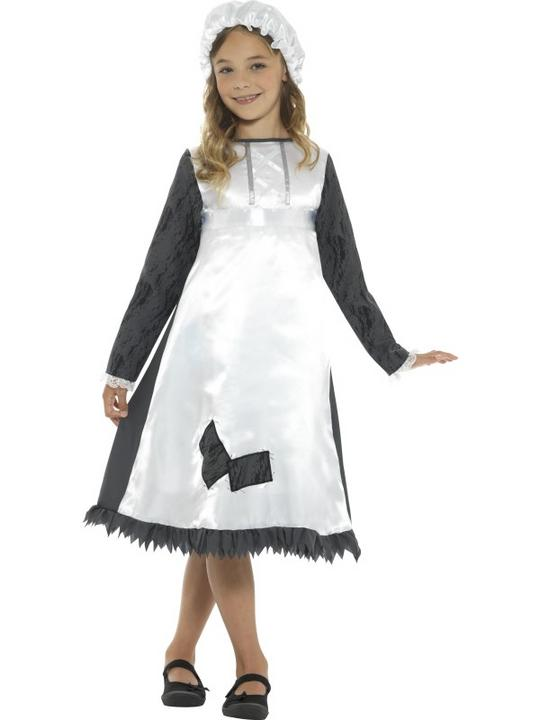 Girl's Victorian Maid Fancy Dress Costume Thumbnail 1