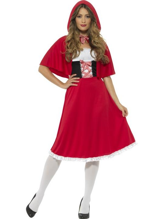 Women's Red Riding Hood Fancy Dress Costume Longer Length Thumbnail 1
