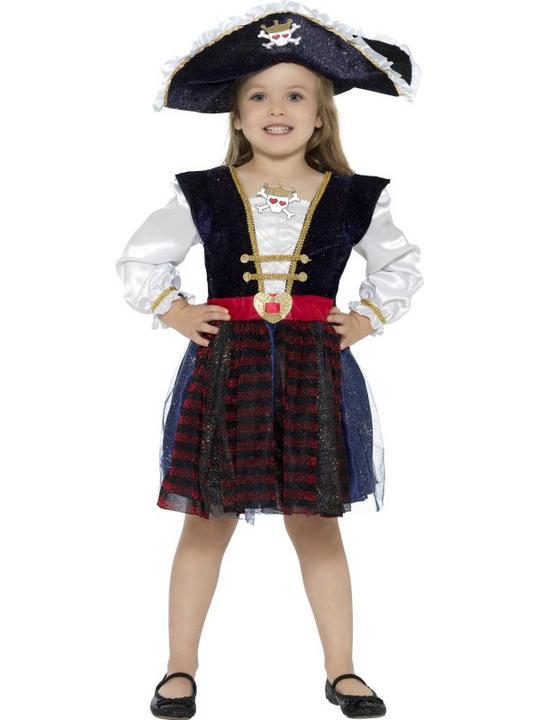 Deluxe Glitter Pirate Girl Fancy Dress Costume Thumbnail 1