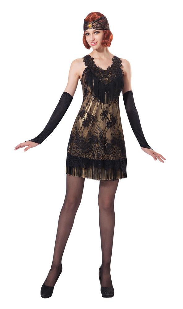 Women's Flapper Black/Gold Lace Fancy Dress Costume