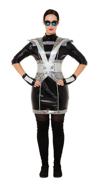 Ladies Black Futuristic Lady Fancy Dress Costume Thumbnail 1