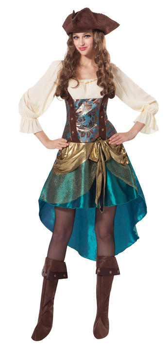Women's Deluxe Pirate Princess Fancy Dress Costume Thumbnail 1